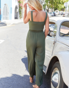Wrap Front Jumpsuit in Khaki by Bravissimo Clothing