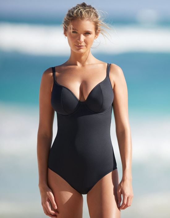 ed67824396 Amalfi Swimsuit Plunge Swimsuit in Black by Bravissimo
