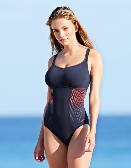 f9becde25d58b Premiere Ultimate Swimsuit Sports Wired Swimsuit in Navy Orange by Speedo