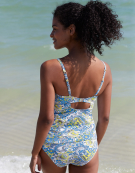 Bahamas Plunge Tankini Top in Blue/Lemon by Bravissimo