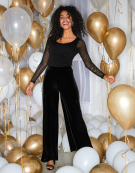 Velvet Wide Leg Trouser in Black by Bravissimo Clothing