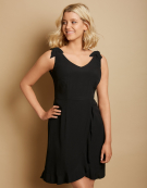 Ruffle Detail Sundress in Black by Bravissimo Clothing