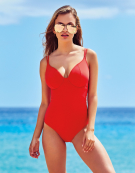 Amalfi Plunge Swimsuit in Poppy Red by Bravissimo