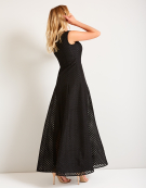 Check Organza Maxi Dress in Black by Bravissimo Clothing