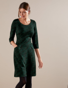 Textured Marl Shift Dress in Green Mix by Bravissimo Clothing