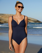Amalfi Swimsuit Plunge Swimsuit in Navy by Bravissimo