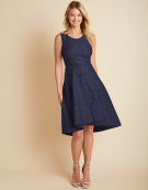 Hannah Hi-Lo Hem Dress in Navy by Bravissimo Clothing