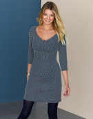 Twist Tunic Dress in Navy / White Spot by Bravissimo Clothing