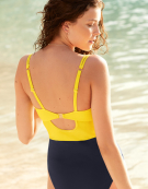 Amalfi Scallop Swimsuit Plunge Swimsuit in Yellow/Navy by Bravissimo