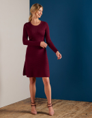 Clara Knit Dress in Burgundy by Bravissimo Clothing