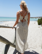 Maxi Beach Dress in White Stripe by Bravissimo