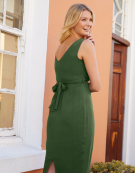 Mallory Wrap Dress in Khaki by Bravissimo Clothing