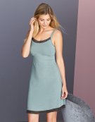Contrast Lace Trim Nightdress Camisole in Sage by Bravissimo