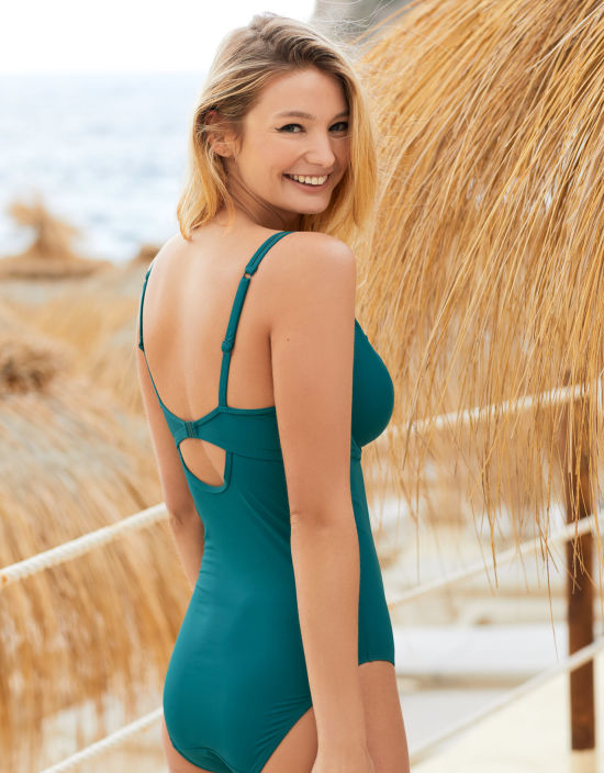 6dc4d83984 Marseille Scallop Swimsuit Plunge Swimsuit in Teal by Bravissimo