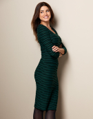 Textured Column Dress in Black/Emerald by Bravissimo Clothing