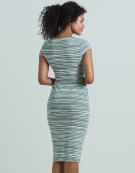 Flo Stripe Dress in Sage/White by Bravissimo Clothing
