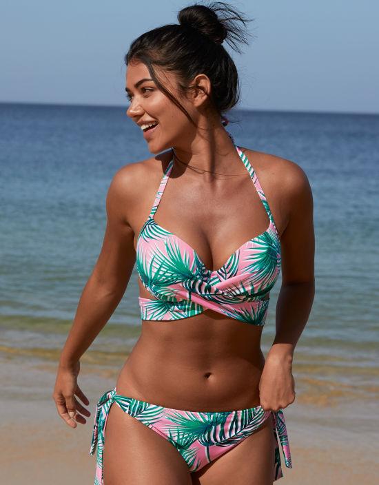 823332f9b8 Tropical Palm Halterneck Bikini in Palm Print by Free