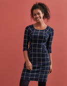 Mia Check Dress in Navy/White Check by Bravissimo Clothing