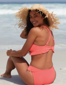 Hawaii Frill Bikini Top in Neon Coral by Bravissimo