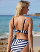 Cote D'Azur Plunge Bikini Top in Navy Stripe by Fantasie
