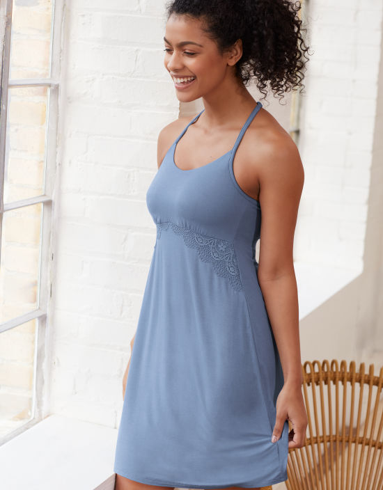 af6e8a52558d PJ Cami Nightdress Nightdresses in Denim Blue by Bravissimo