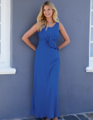 Ruffle Front Maxi Dress in Cobalt by Bravissimo Clothing