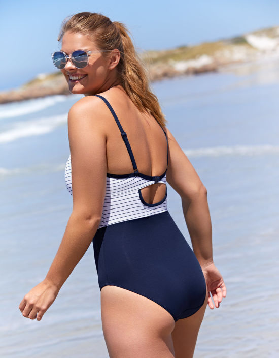 Madeira Swimsuit Plunge Swimsuit In Navy Stripe By Bravissimo
