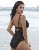 Sheer Class Swimsuit Plunge Swimsuit in Black by Curvy Kate Swim