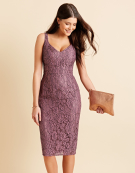Megan Lace Dress in Mauve by Bravissimo Clothing
