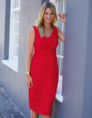 Mallory Wrap Dress in Red by Bravissimo Clothing