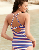 Capri Plunge Tankini Top in Multi Stripe by Bravissimo