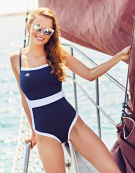 Seville Swimsuit in Navy/White by Bravissimo