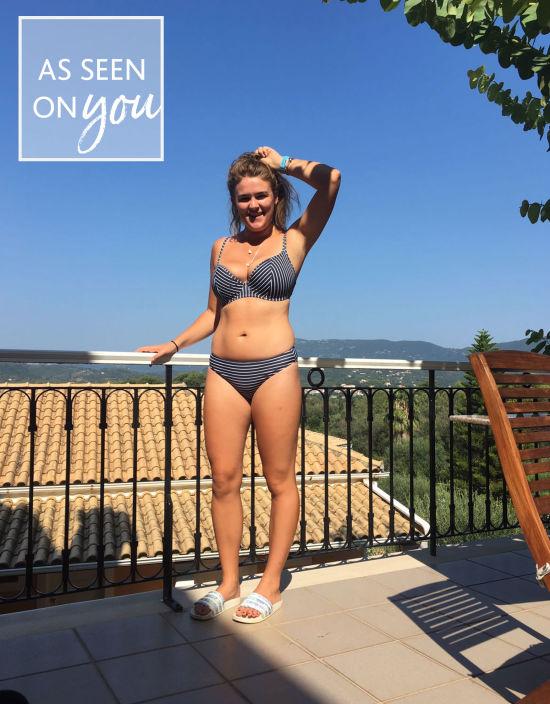 0a8f8f7442 Amalfi Plunge Bikini Top in Navy Stripe by Bravissimo