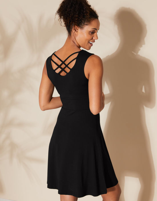 5affe9b67ad Cross Back Sundress in Black by Bravissimo Clothing