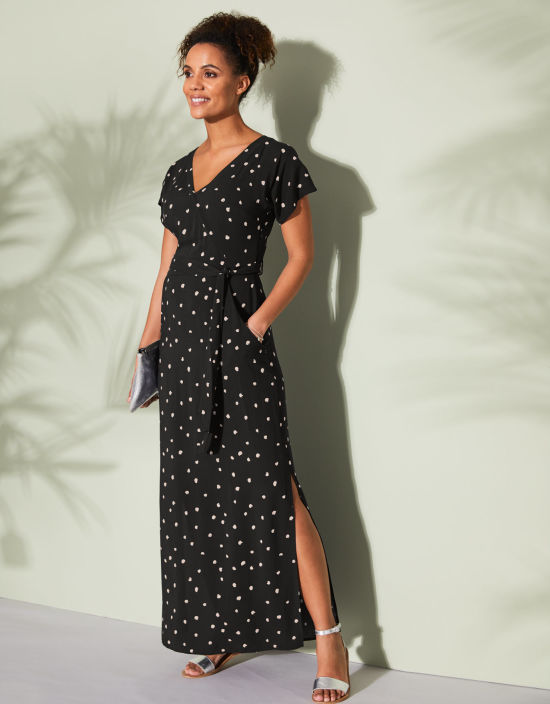 a7dcb588a324 Kimono Maxi Dress in Black Spot by Bravissimo Clothing