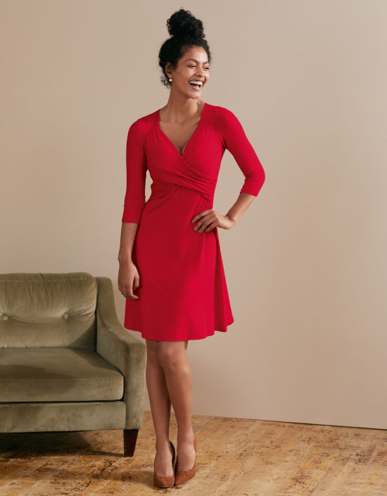 26633943bb5b Florence Rib Dress in Red by Bravissimo Clothing