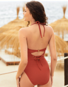 St Lucia Swimsuit Halterneck Swimsuit in Rust by Bravissimo