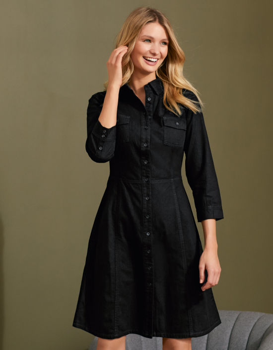 c1b9b10e9e Denim Shirt Dress in Black by Bravissimo Clothing