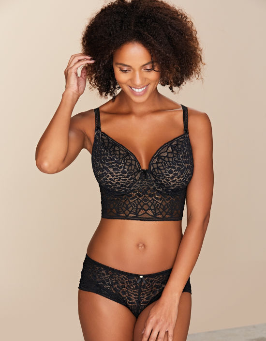 64e6f848f212b Soiree Lace Plunge Longline Bralette in Black by Freya