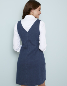 Denim Pinafore Dress in Denim Blue by Bravissimo Clothing