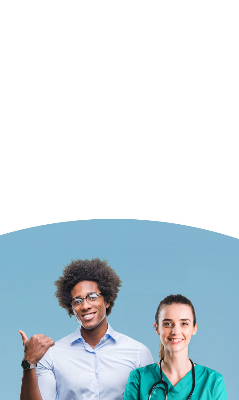 Two medical professionals sitting on colored shapes