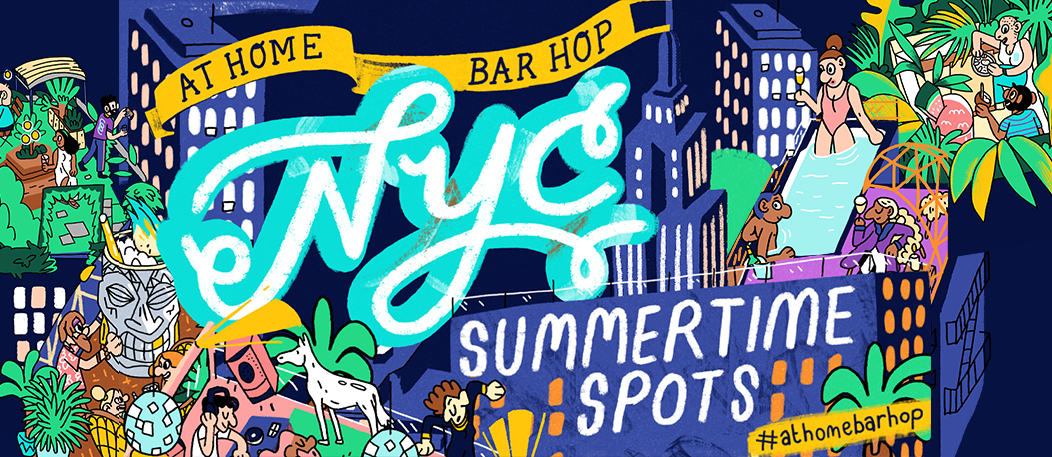 An image of a map with the best summer spots in NYC