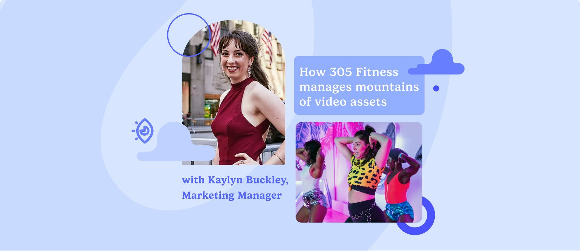 Kaylyn Buckley, Marketing Manager at 305 Fitness, and an image from a 305 fitness live class