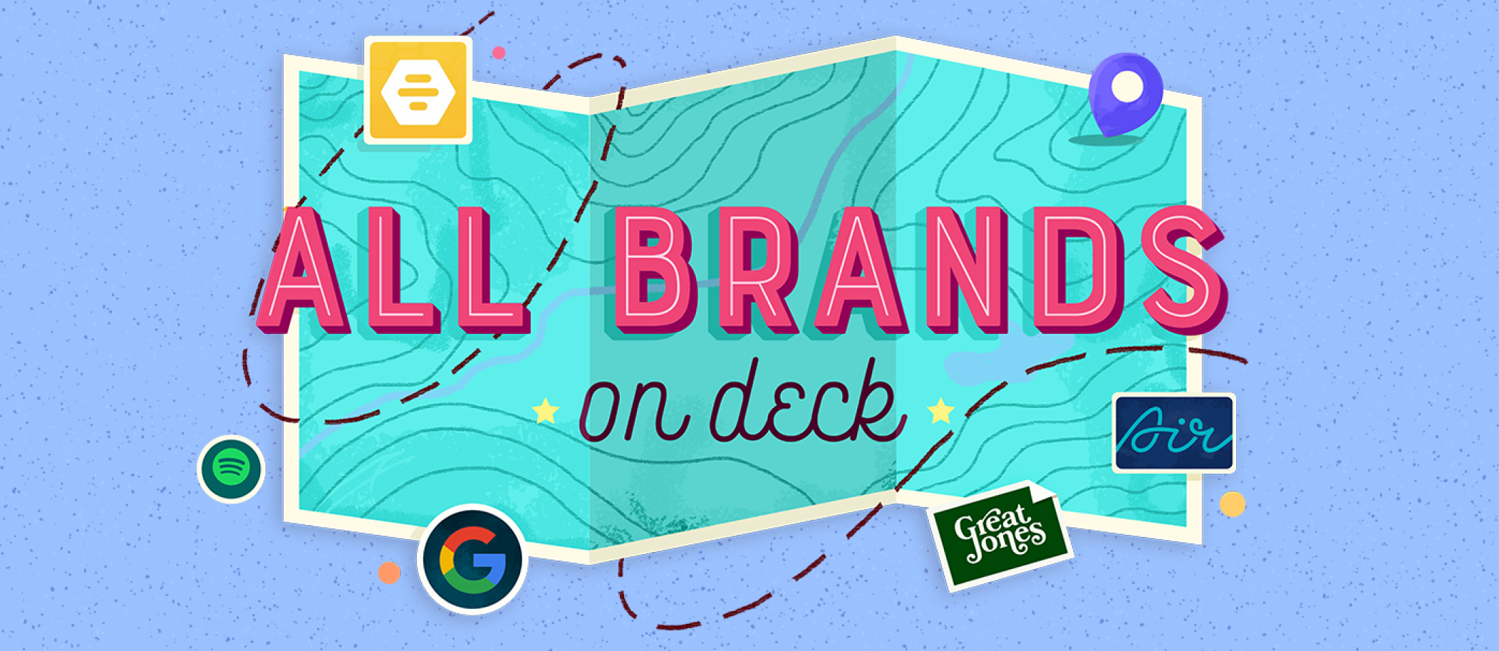 """A map with the text """"All brands on deck"""""""