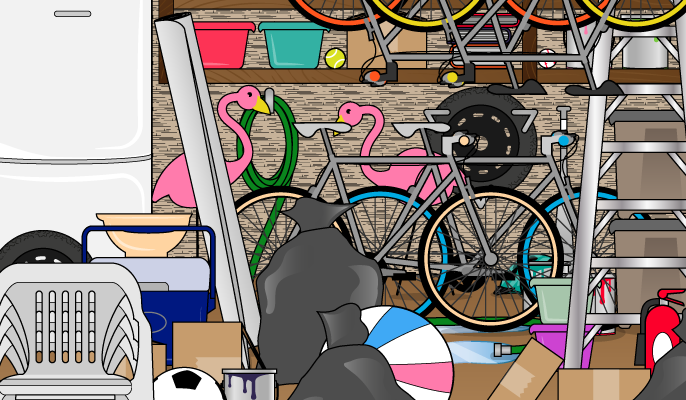 Find the cycling helmet in the garage