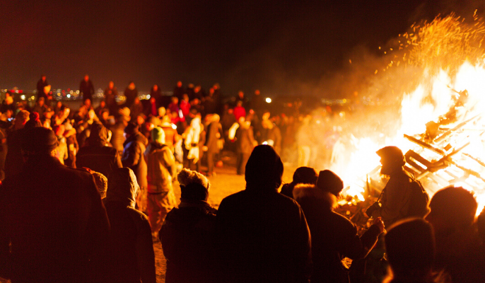 New years eve bonfire in Iceland
