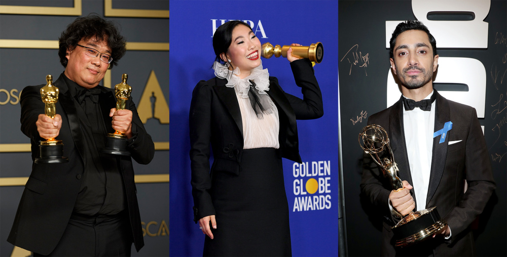 Bong Joon-ho, Awkwafina, and Riz Ahmed winning at life.
