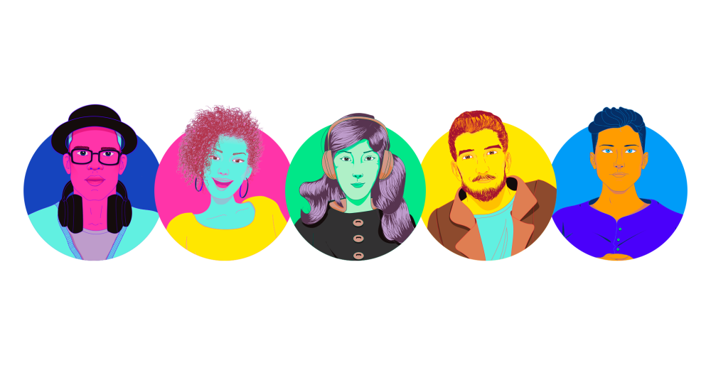 The five Spotify Personas: Nick, Olivia, Shelley, Travis, and Cameron.
