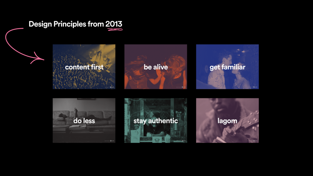 Spotify's design principles from 2013: content first, be alive, get familiar, do less, stay authentic, lagom.