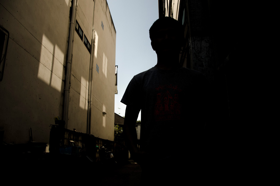 Silhouette in city
